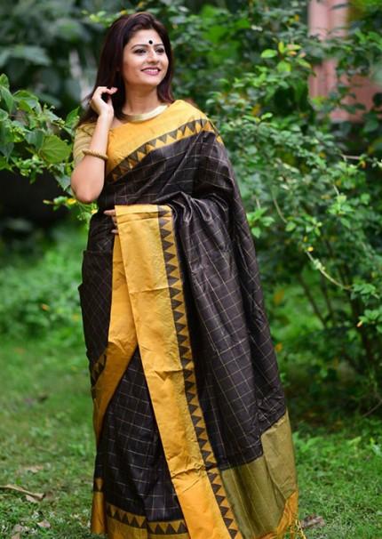 Peculiar Black Color Raw Silk Saree - gnp006267
