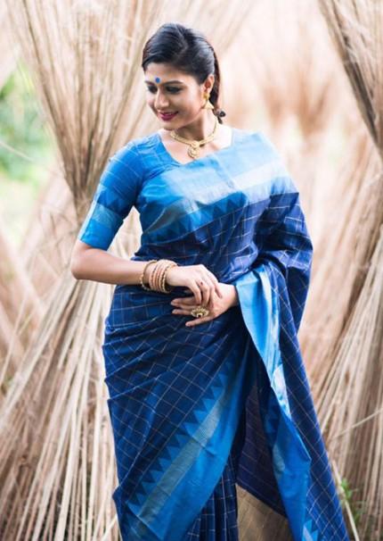 Peculiar Blue Color Raw Silk Saree - gnp006268
