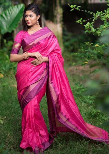 Peculiar Pink Color Raw Silk Saree - gnp006271