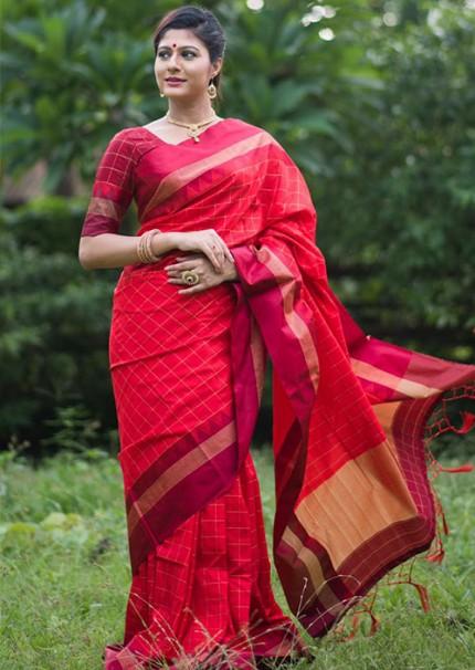 Peculiar Red Color Raw Silk Saree - gnp006272
