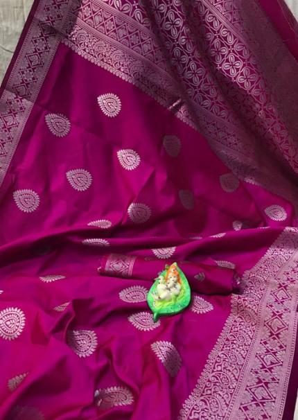 Pink Banarasi Silk Woven Saree with Silver Zari - gnp006177