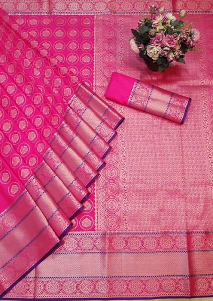Pink Colored Banarasi Silk Saree Jacquard With Rich Pallu