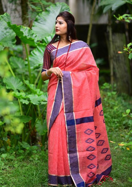 Pink Colored Soft Cotton Weaving Saree with Resham Woven - gnp006234