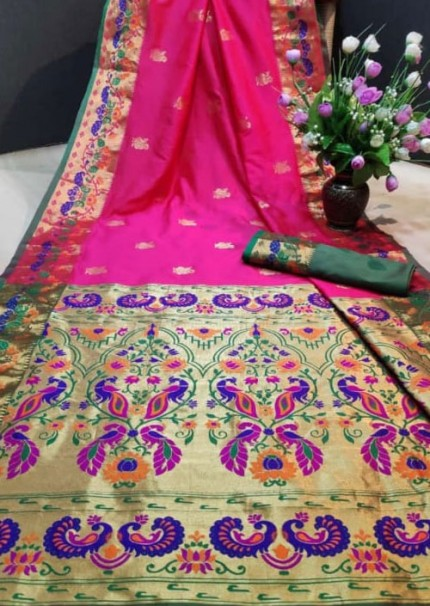 Pink Paithani Silk Traditional Saree