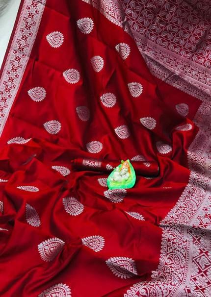 Red Banarasi Silk Woven Saree with Silver Zari - gnp006179