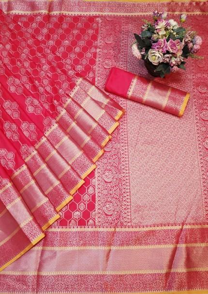 Red Colored Banarasi Silk Saree Jacquard With Rich Pallu