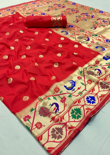 Red Paithani silk saree - women's Red Soft silk paithani saree gnp006030