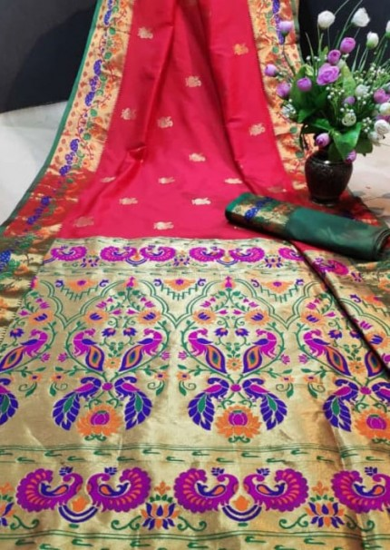 Red Paithani Silk Traditional Saree