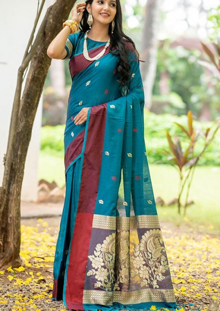 Sea Green Colored Soft Cotton Weaving Saree with Resham Woven - gnp006228