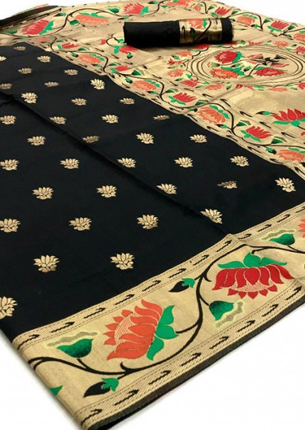 Sensational Black Soft Silk Weaving Designer Saree Online - gnp006579