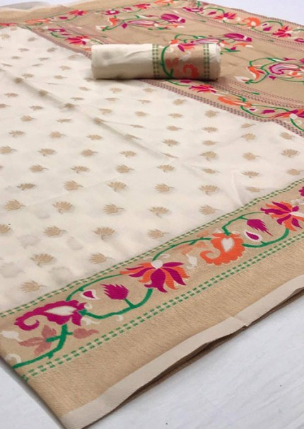 Sensational Off White Soft Silk Weaving Designer Saree Online - gnp006580