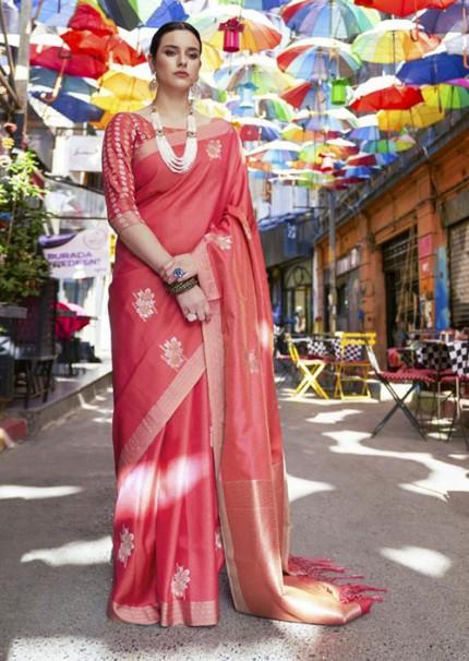 Trendy Red Color Banarasi Silk Women's Saree