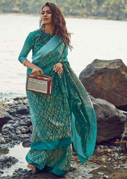 Widespread Collection Sea Green Colored Brasso Saree