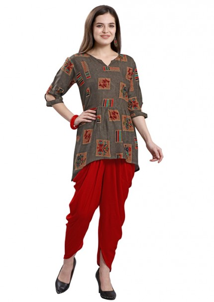 Women's Rayon Kurta With Tulip Pant Set - gnp006594
