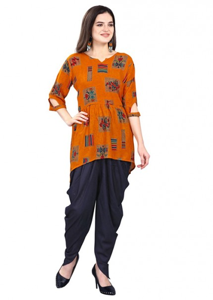 Women's Rayon Kurta With Tulip Pant Set - gnp006596