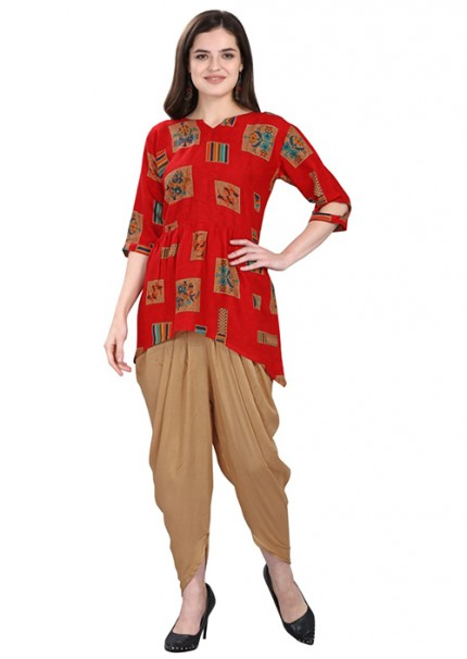 Women's Rayon Kurta With Tulip Pant Set - gnp006597