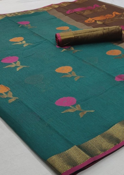 Women's Sea Green Colored Linen Cotton indian Online Saree