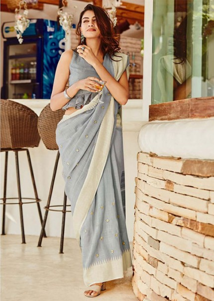 Women's soft linen silk with Embroidery work saree in Grey - gnp005866
