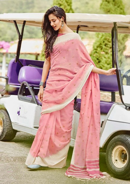 Women's soft linen silk with Embroidery work saree in Pink - gnp005868