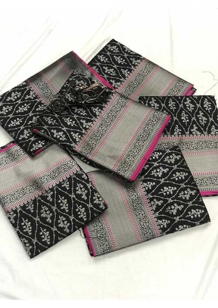 Women's Banarasi silk Weaving jacquard saree in Black gnp005879
