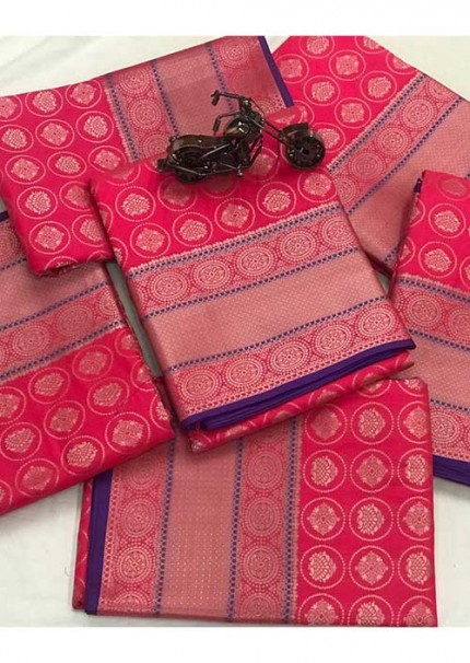 Women's Banarasi silk Weaving jacquard saree in Pink gnp005885