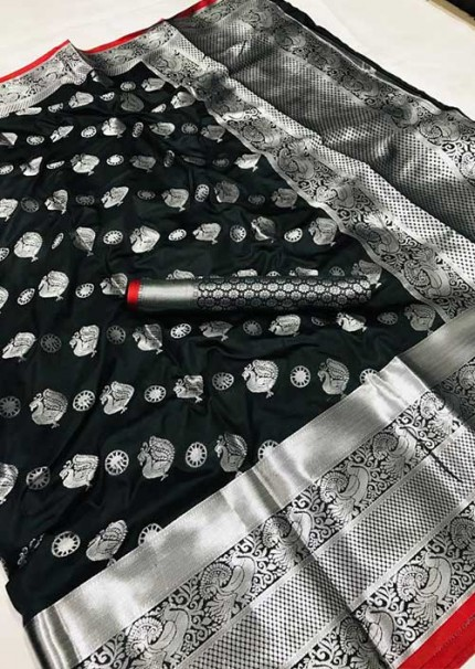 womens-lichi-silk-weaving-saree-in-black-silk-sarees-online-gnp005979 - grabandpack.com