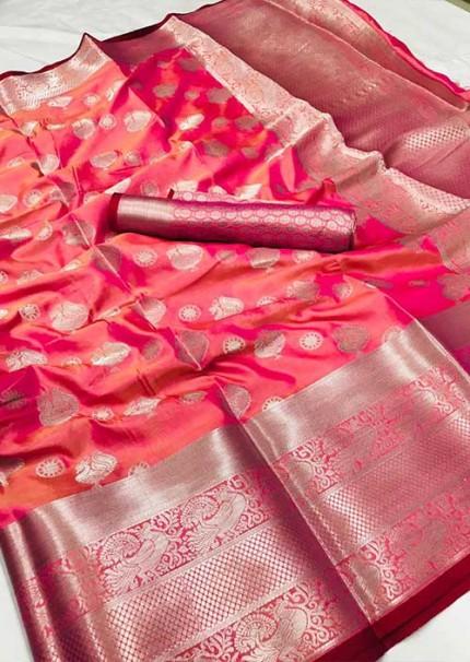womens-lichi-silk-weaving-saree-in-pink-silk-sarees-online-gnp005987 - grabandpack.com - Grab and Pack