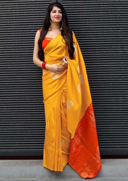 Yellow Colored Silk Blend Woven Design Kanjeevaram Saree