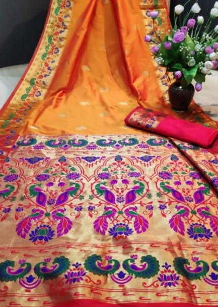 Yellow Paithani Silk Traditional Saree