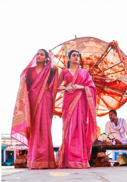 Pink Self Satin Handloom Weaving Silk Saree - gnp008380
