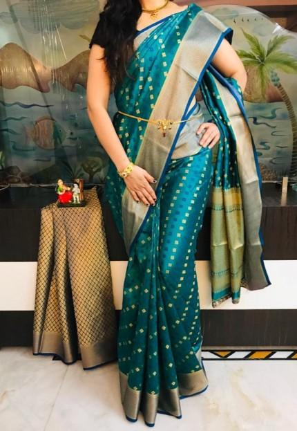Blue Dola butti Saree With Heavy Rich Pallu - gnp009529