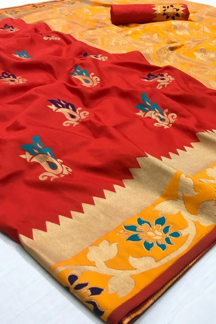 Assure with Quality Pure Soft Silk Saree Red and Yellow with zari border - gnp006322