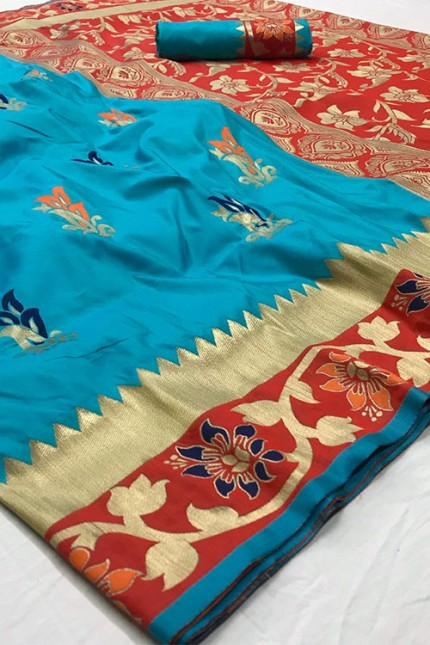 Assure with Quality Pure Soft Silk Saree Sky and Red with zari border - gnp006321