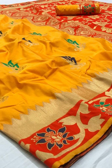 Assure with Quality Pure Soft Silk Saree Yellow and Red with zari border - gnp006320
