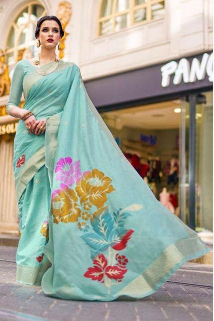 Attractive Sky Colored Festive Wear Woven Silk Saree - gnp006516