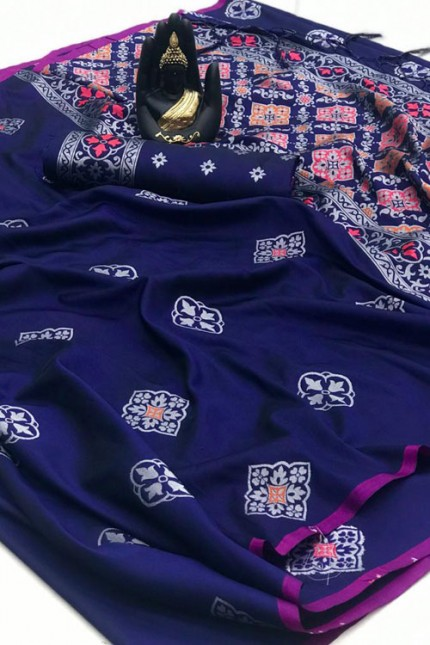 Banarasi Saree in Blue gnp007415 - grabandpack