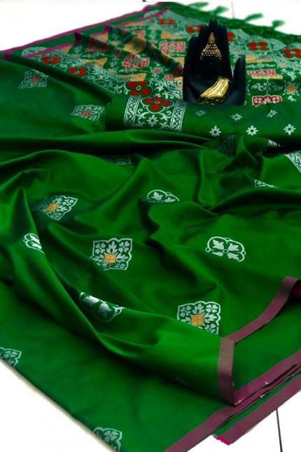 Banarasi Saree in Green gnp007417 - grabandpack