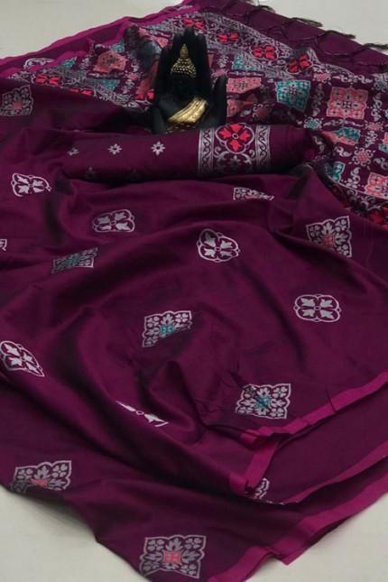Banarasi Saree in Purple gnp007418 - grabandpack