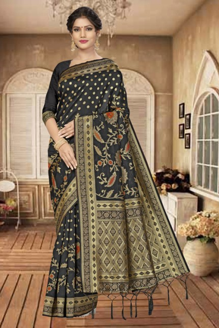 Beautiful Banarasi silk sarees (Black)