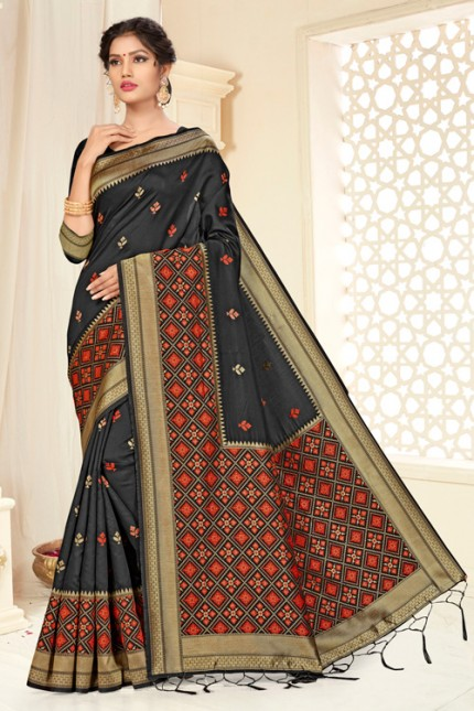 Black Banarasi silk saree by grabandpack.com