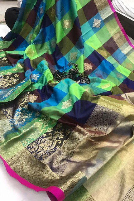 Banarasi Weaving Silk Handloom Chex Saree in Multi Color - gnp006312