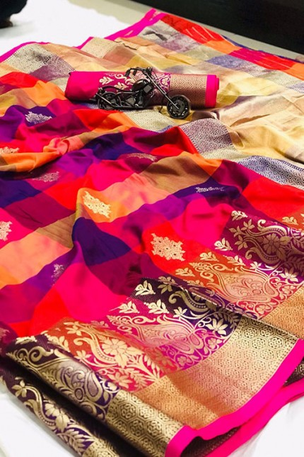 Banarasi Weaving Silk Handloom Chex Saree in Multi Color - gnp006313