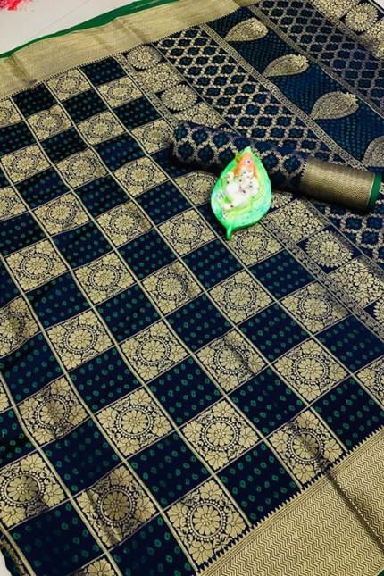 Banarasi Weaving Silk Handloom Patola Chex Saree in Blue Color - gnp006314