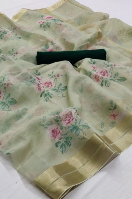 Branded soft Organza Silk Printed Saree online india gnp006377