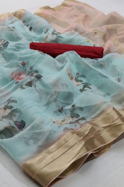 Beautiful Branded soft Organza Silk Printed Saree online india gnp006379