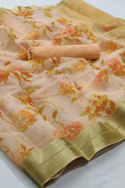 Organza Silk Printed Saree online india gnp006380