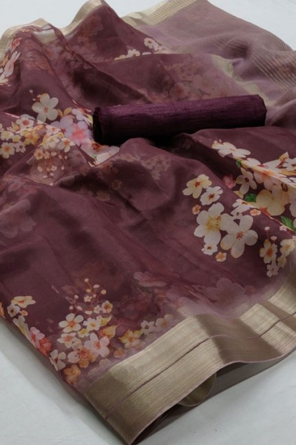 Beautiful Branded soft Organza Silk Printed Saree online india gnp006382