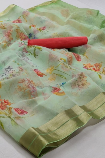 Women's Beautiful Branded soft Organza Silk Printed Saree online india gnp006383 - Grabandpack.com