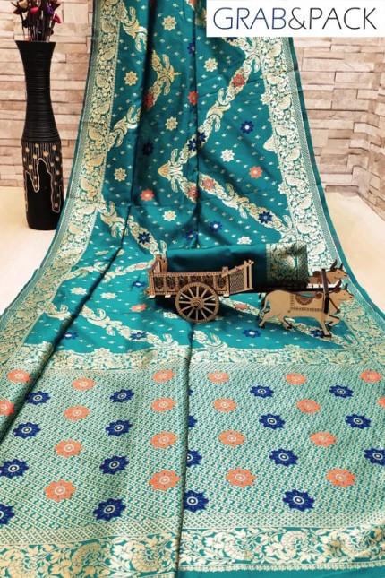 Beautiful lady Soft silk weaving gold zari work saree