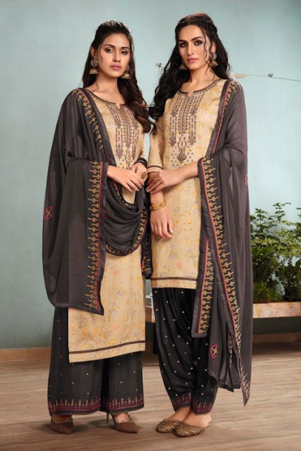 Beige Un-Stitched Cotton Satin Suit with Dupatta - gnp007014